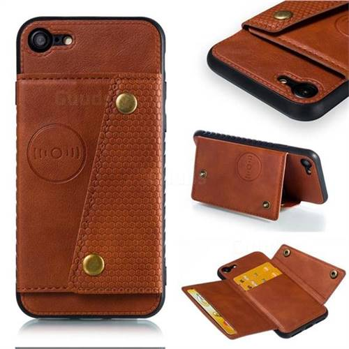 Retro Multifunction Card Slots Stand Leather Coated Phone Back Cover for iPhone 8 / 7 (4.7 inch) - Brown