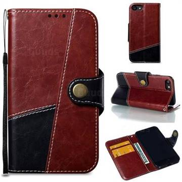 Retro Magnetic Stitching Wallet Flip Cover for iPhone 8 / 7 (4.7 inch) - Dark Red