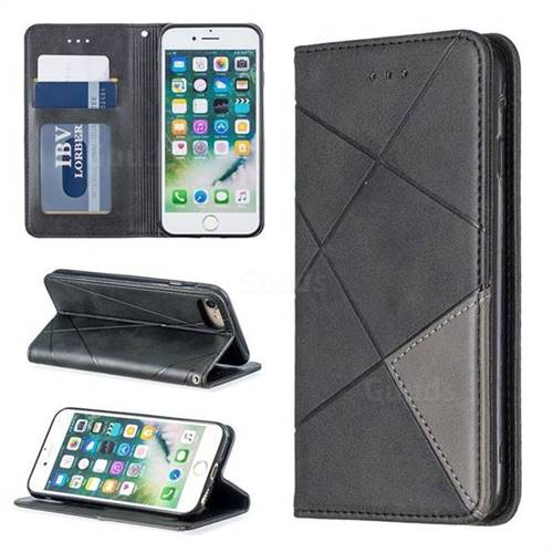 Prismatic Slim Magnetic Sucking Stitching Wallet Flip Cover for iPhone 8 / 7 (4.7 inch) - Black