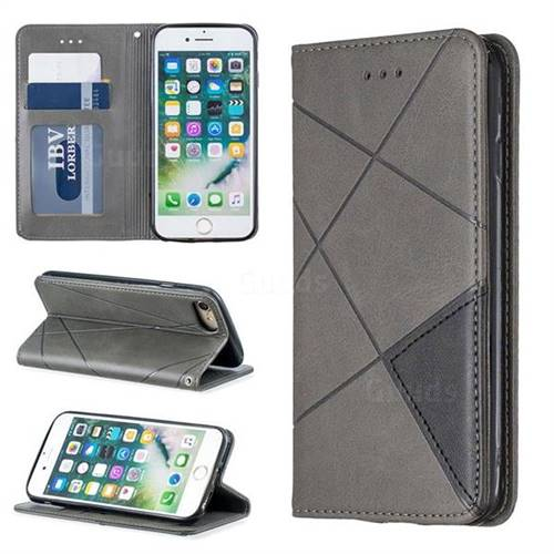 Prismatic Slim Magnetic Sucking Stitching Wallet Flip Cover for iPhone 8 / 7 (4.7 inch) - Gray