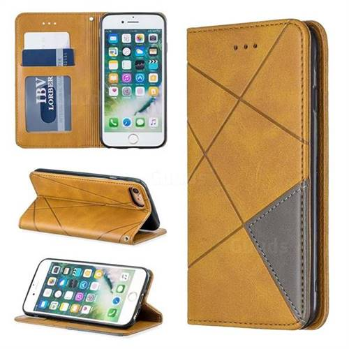 Prismatic Slim Magnetic Sucking Stitching Wallet Flip Cover for iPhone 8 / 7 (4.7 inch) - Yellow