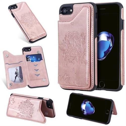 Luxury Tree and Cat Multifunction Magnetic Card Slots Stand Leather Phone Back Cover for iPhone 8 / 7 (4.7 inch) - Rose Gold