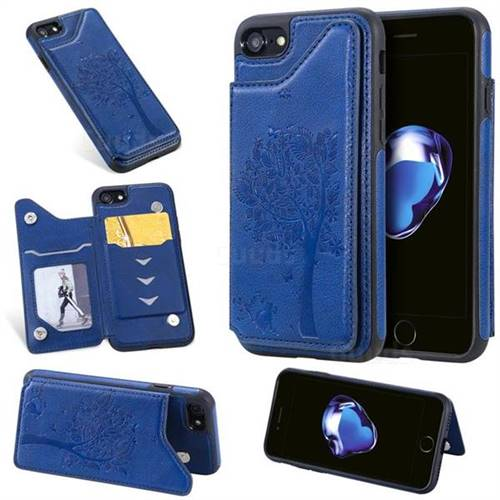 Luxury Tree and Cat Multifunction Magnetic Card Slots Stand Leather Phone Back Cover for iPhone 8 / 7 (4.7 inch) - Blue