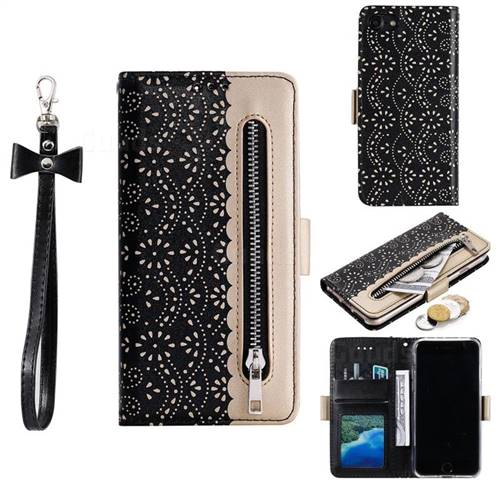 Luxury Lace Zipper Stitching Leather Phone Wallet Case for iPhone 8 / 7 (4.7 inch) - Black