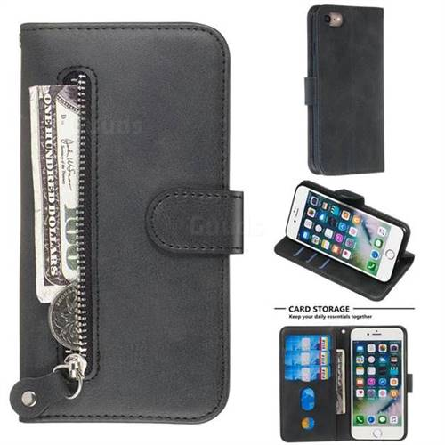 Retro Luxury Zipper Leather Phone Wallet Case for iPhone 8 / 7 (4.7 inch) - Black