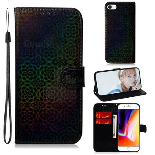 Laser Circle Shining Leather Wallet Phone Case for iPhone 8 / 7 (4.7 inch) - Black
