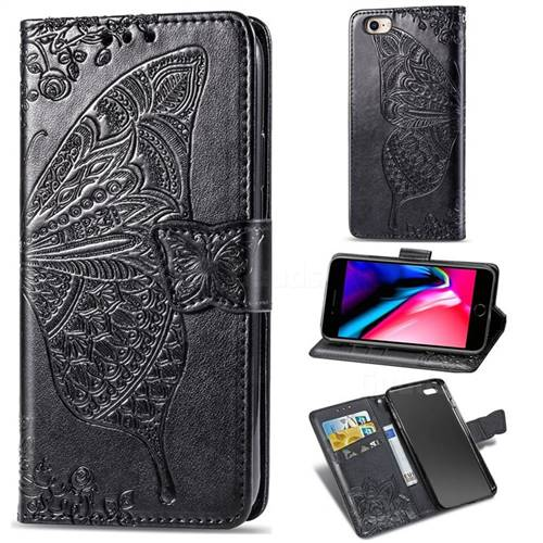 Embossing Mandala Flower Butterfly Leather Wallet Case for iPhone 8 / 7 (4.7 inch) - Black