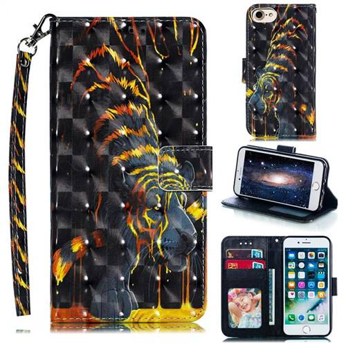 Tiger Totem 3D Painted Leather Phone Wallet Case for iPhone 8 / 7 (4.7 inch)