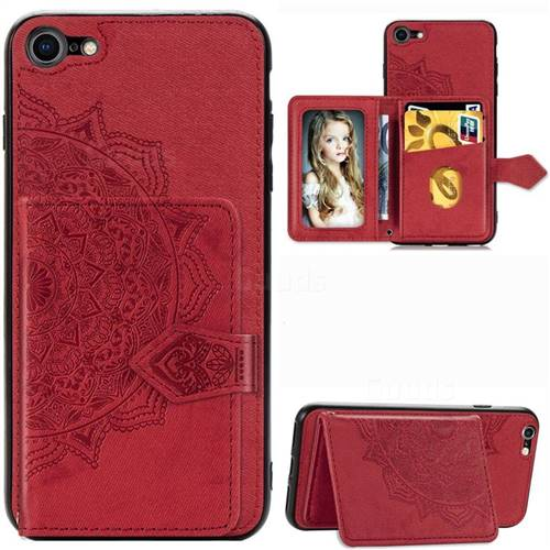 Mandala Flower Cloth Multifunction Stand Card Leather Phone Case for iPhone 8 / 7 (4.7 inch) - Red