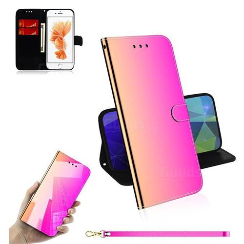 Shining Mirror Like Surface Leather Wallet Case for iPhone 8 / 7 (4.7 inch) - Rainbow Gradient