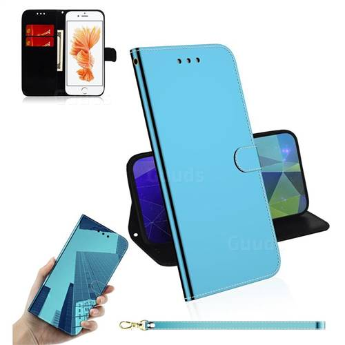 Shining Mirror Like Surface Leather Wallet Case for iPhone 8 / 7 (4.7 inch) - Blue