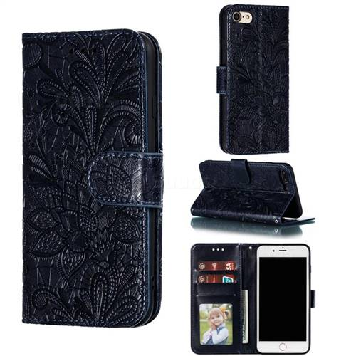 Intricate Embossing Lace Jasmine Flower Leather Wallet Case for iPhone 8 / 7 (4.7 inch) - Dark Blue