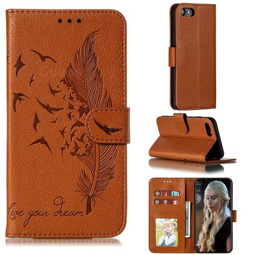 Intricate Embossing Lychee Feather Bird Leather Wallet Case for iPhone 8 / 7 (4.7 inch) - Brown