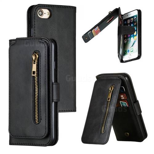 Multifunction 9 Cards Leather Zipper Wallet Phone Case for iPhone 8 / 7 (4.7 inch) - Black