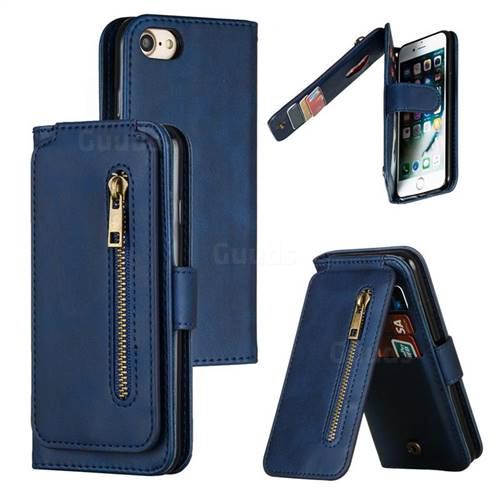 Multifunction 9 Cards Leather Zipper Wallet Phone Case for iPhone 8 / 7 (4.7 inch) - Blue