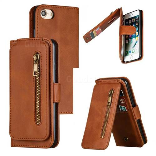 Multifunction 9 Cards Leather Zipper Wallet Phone Case for iPhone 8 / 7 (4.7 inch) - Brown