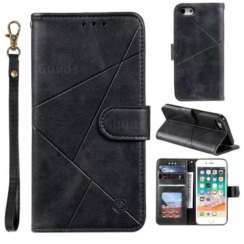 Embossing Geometric Leather Wallet Case for iPhone 8 / 7 (4.7 inch) - Black