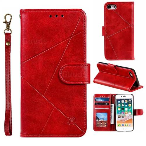 Embossing Geometric Leather Wallet Case for iPhone 8 / 7 (4.7 inch) - Red