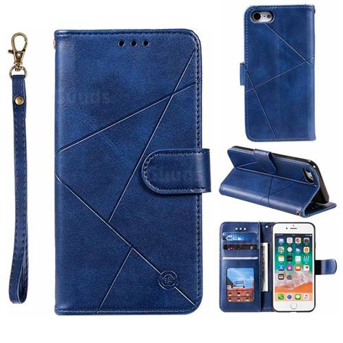 Embossing Geometric Leather Wallet Case for iPhone 8 / 7 (4.7 inch) - Blue