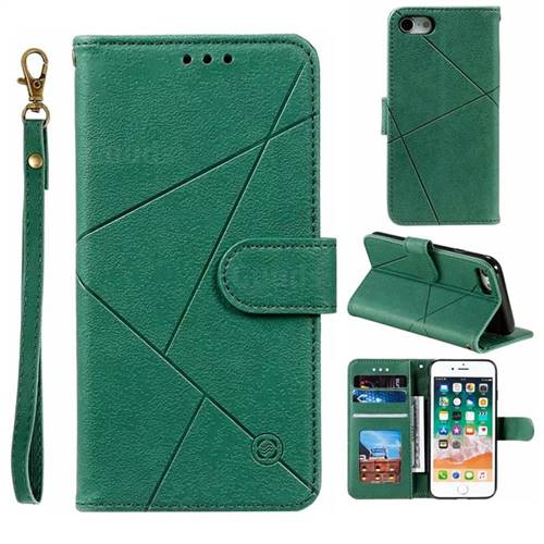 Embossing Geometric Leather Wallet Case for iPhone 8 / 7 (4.7 inch) - Green