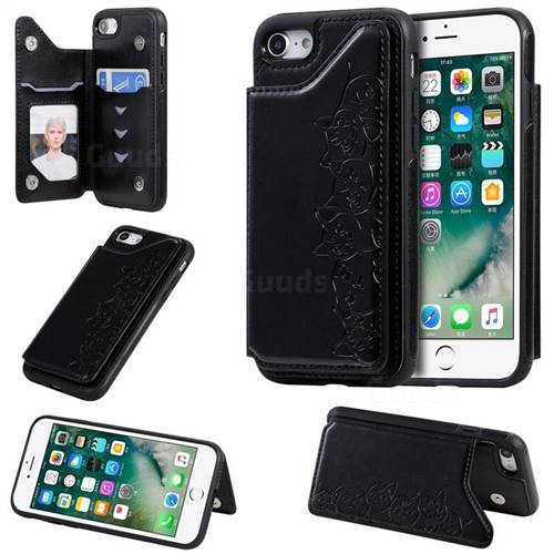 Yikatu Luxury Cute Cats Multifunction Magnetic Card Slots Stand Leather Back Cover for iPhone 8 / 7 (4.7 inch) - Black
