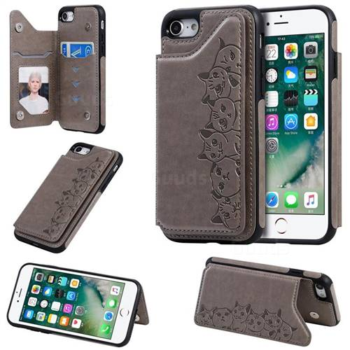 Yikatu Luxury Cute Cats Multifunction Magnetic Card Slots Stand Leather Back Cover for iPhone 8 / 7 (4.7 inch) - Gray