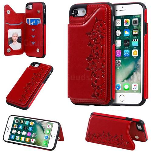 Yikatu Luxury Cute Cats Multifunction Magnetic Card Slots Stand Leather Back Cover for iPhone 8 / 7 (4.7 inch) - Red