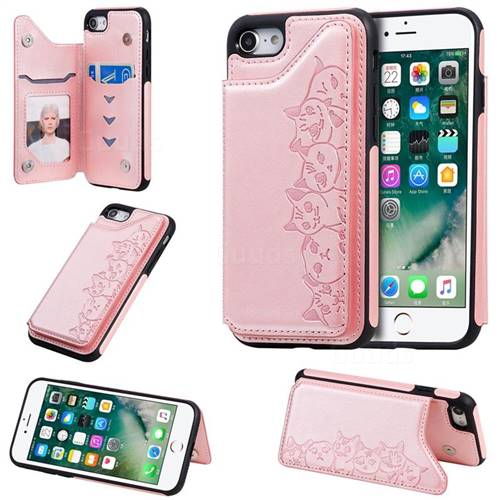 Yikatu Luxury Cute Cats Multifunction Magnetic Card Slots Stand Leather Back Cover for iPhone 8 / 7 (4.7 inch) - Rose Gold