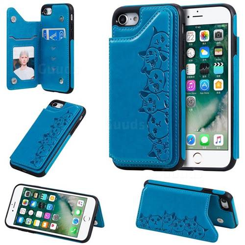 Yikatu Luxury Cute Cats Multifunction Magnetic Card Slots Stand Leather Back Cover for iPhone 8 / 7 (4.7 inch) - Blue