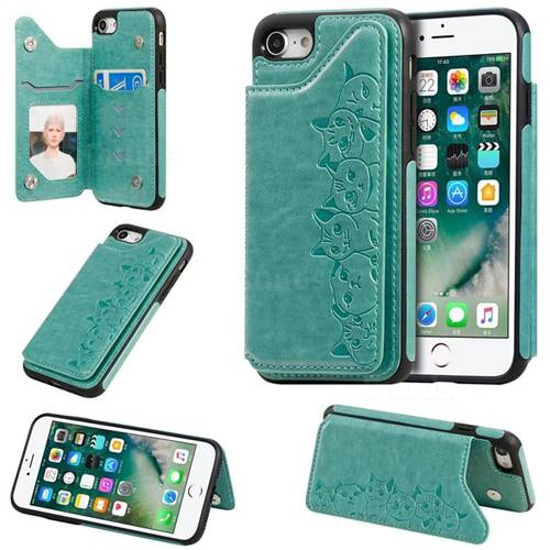 Yikatu Luxury Cute Cats Multifunction Magnetic Card Slots Stand Leather Back Cover for iPhone 8 / 7 (4.7 inch) - Green