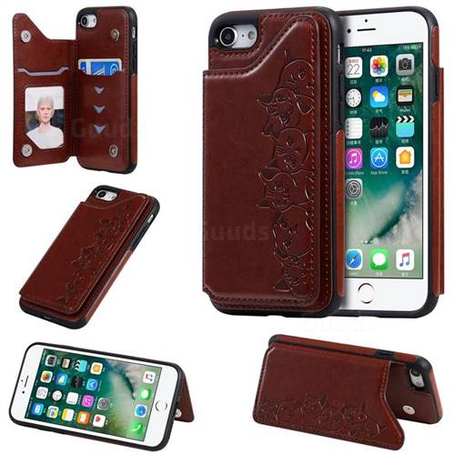 Yikatu Luxury Cute Cats Multifunction Magnetic Card Slots Stand Leather Back Cover for iPhone 8 / 7 (4.7 inch) - Brown