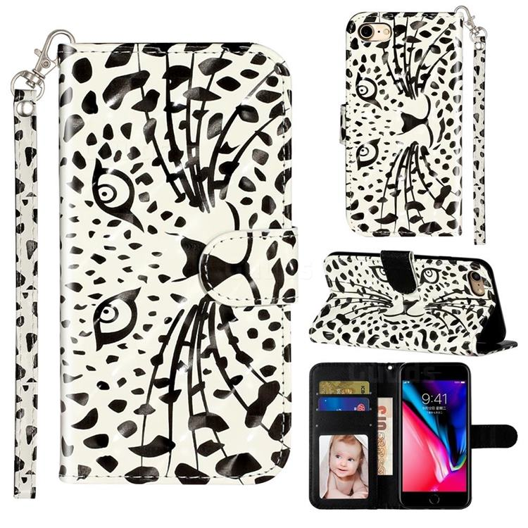Leopard Panther 3D Leather Phone Holster Wallet Case for iPhone 8 / 7 (4.7 inch)