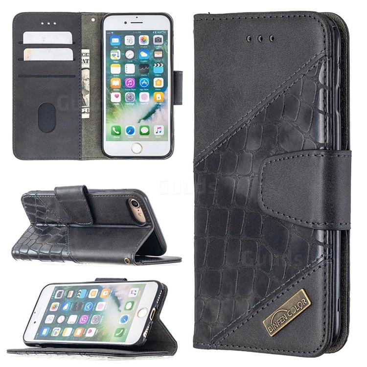 BinfenColor BF04 Color Block Stitching Crocodile Leather Case Cover for iPhone 8 / 7 (4.7 inch) - Black