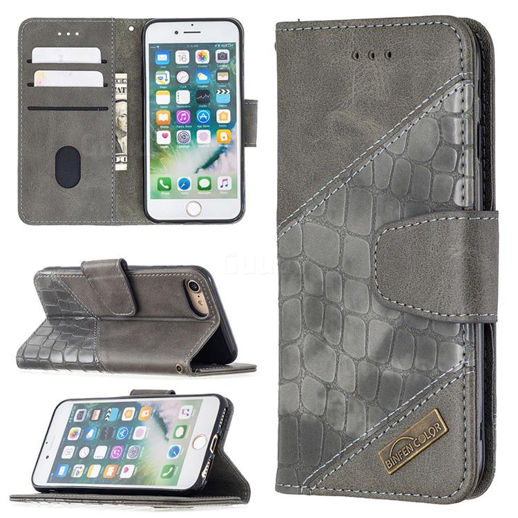 BinfenColor BF04 Color Block Stitching Crocodile Leather Case Cover for iPhone 8 / 7 (4.7 inch) - Gray