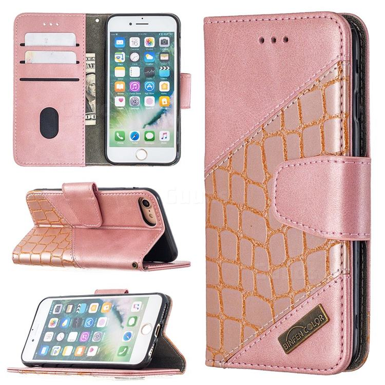 BinfenColor BF04 Color Block Stitching Crocodile Leather Case Cover for iPhone 8 / 7 (4.7 inch) - Rose Gold