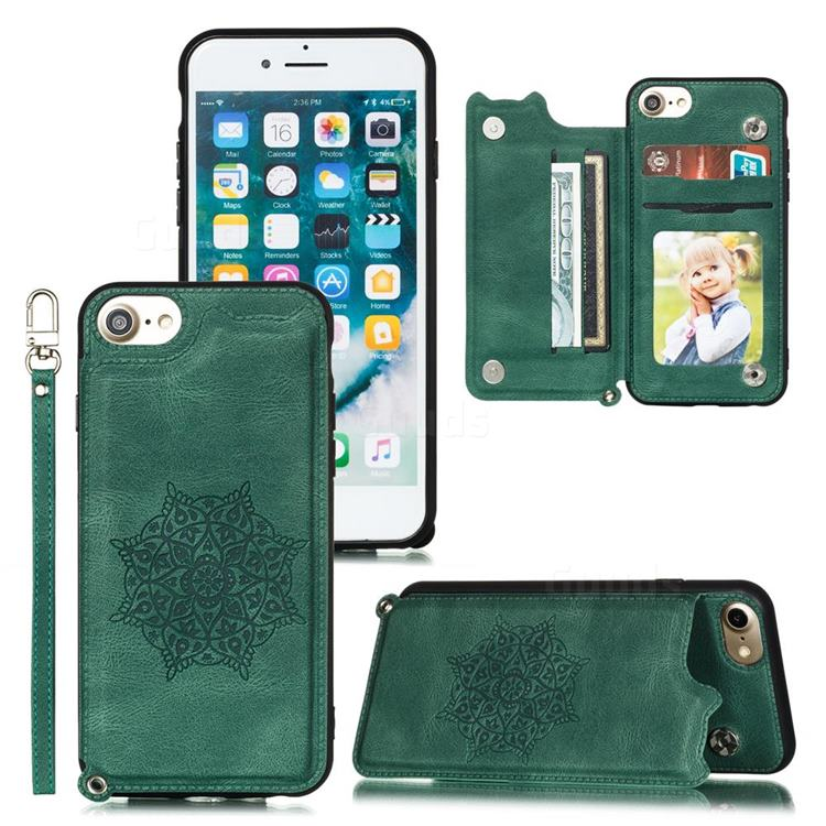 Luxury Mandala Multi-function Magnetic Card Slots Stand Leather Back Cover for iPhone 8 / 7 (4.7 inch) - Green