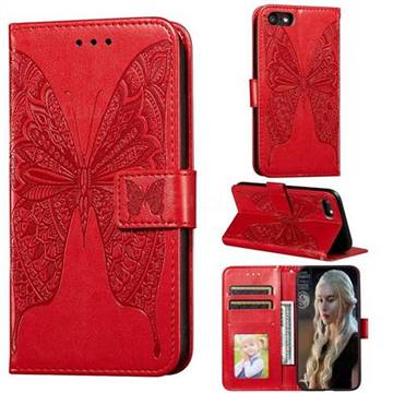 Intricate Embossing Vivid Butterfly Leather Wallet Case for iPhone 8 / 7 (4.7 inch) - Red