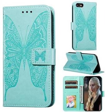Intricate Embossing Vivid Butterfly Leather Wallet Case for iPhone 8 / 7 (4.7 inch) - Green