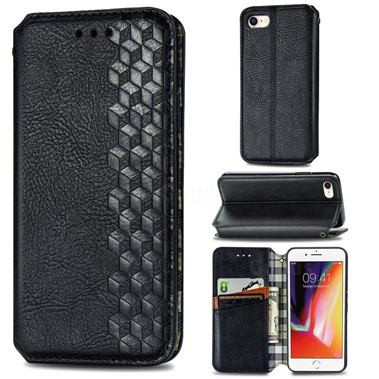 Ultra Slim Fashion Business Card Magnetic Automatic Suction Leather Flip Cover for iPhone 8 / 7 (4.7 inch) - Black