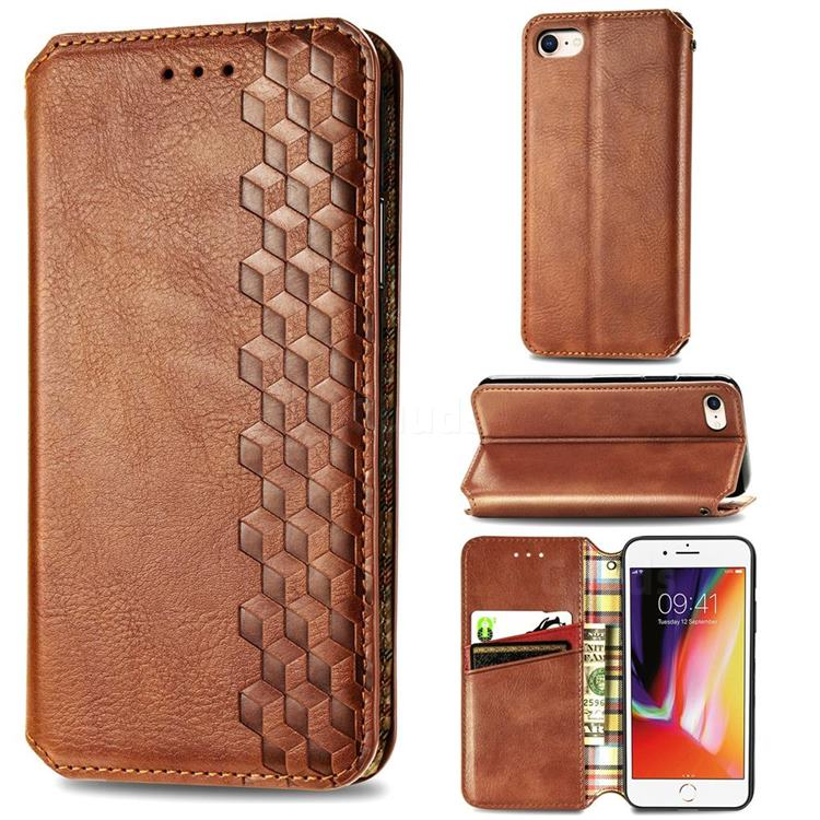 Ultra Slim Fashion Business Card Magnetic Automatic Suction Leather Flip Cover for iPhone 8 / 7 (4.7 inch) - Brown