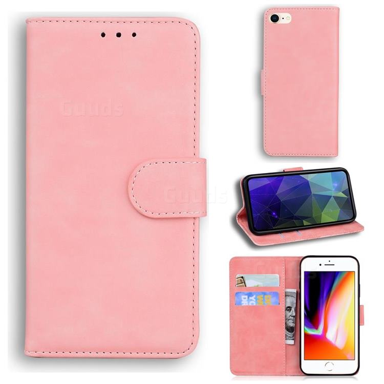 Retro Classic Skin Feel Leather Wallet Phone Case for iPhone 8 / 7 (4.7 inch) - Pink