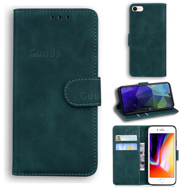 Retro Classic Skin Feel Leather Wallet Phone Case for iPhone 8 / 7 (4.7 inch) - Green
