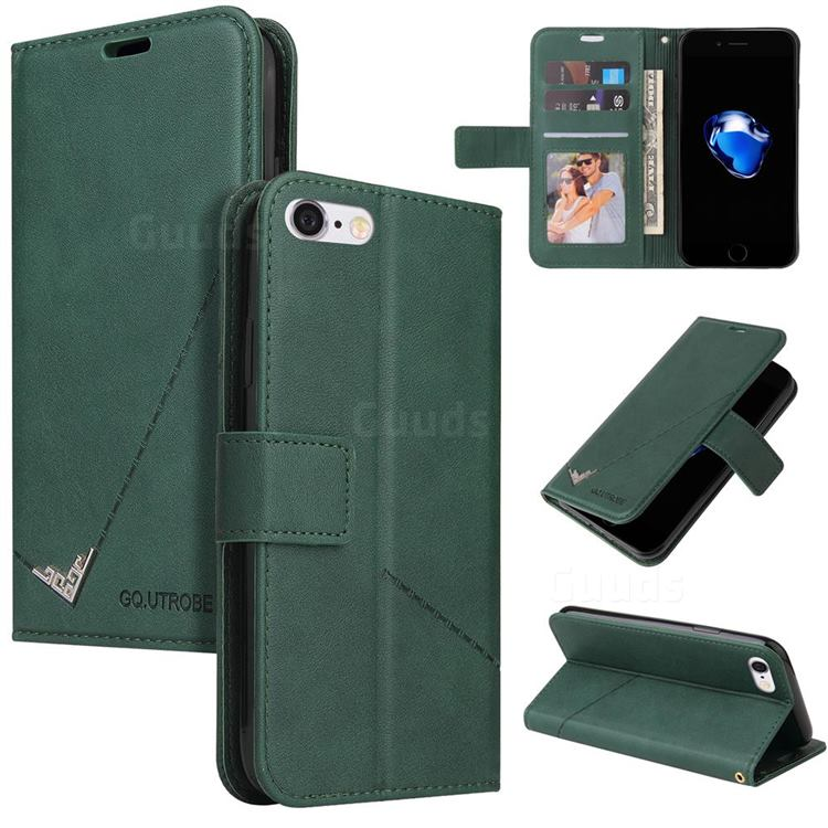 GQ.UTROBE Right Angle Silver Pendant Leather Wallet Phone Case for iPhone 8 / 7 (4.7 inch) - Green