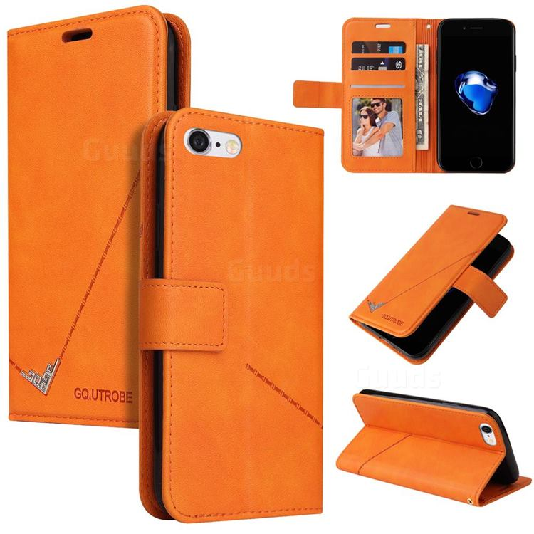 GQ.UTROBE Right Angle Silver Pendant Leather Wallet Phone Case for iPhone 8 / 7 (4.7 inch) - Orange