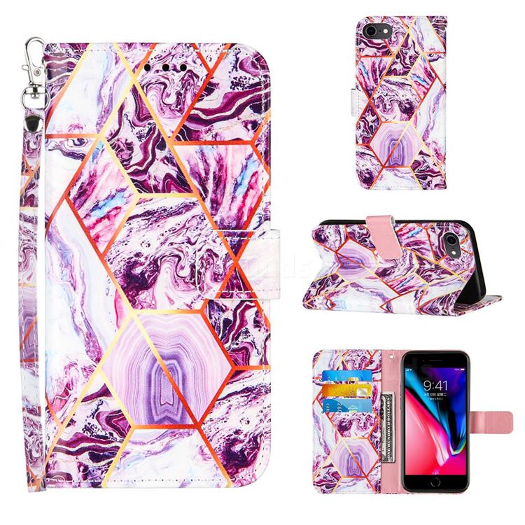 Dream Purple Stitching Color Marble Leather Wallet Case for iPhone 8 / 7 (4.7 inch)