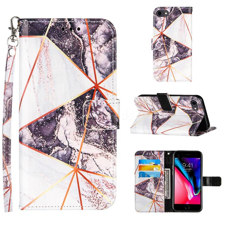 Black and White Stitching Color Marble Leather Wallet Case for iPhone 8 / 7 (4.7 inch)