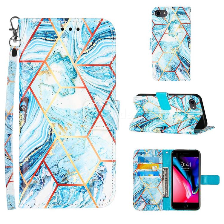 Lake Blue Stitching Color Marble Leather Wallet Case for iPhone 8 / 7 (4.7 inch)