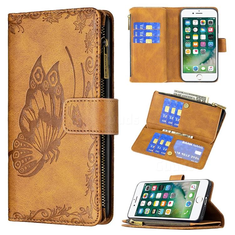 Binfen Color Imprint Vivid Butterfly Buckle Zipper Multi-function Leather Phone Wallet for iPhone 8 / 7 (4.7 inch) - Brown