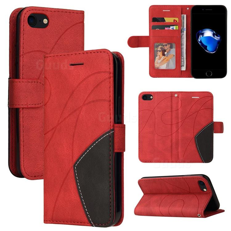Luxury Two-color Stitching Leather Wallet Case Cover for iPhone 8 / 7 (4.7 inch) - Red