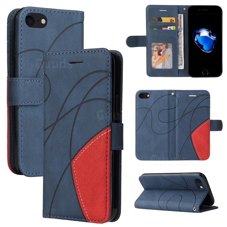 Luxury Two-color Stitching Leather Wallet Case Cover for iPhone 8 / 7 (4.7 inch) - Blue